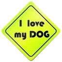 I LOVE MY DOG Odblask FLUORESCENCYJNY Naklejka!!!