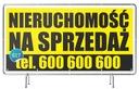 Baner reklamowy 2x1m Sprzedam DOM/Działkę Wzory Oczkowanie co 50 cm
