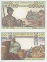 Mali -  Afryka Zach. 500frs - P#12 UNC RZADKI
