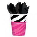 Kubeczki papierowe Zebra Party różowe panieński 8