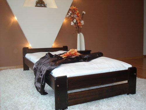 łóżko Drewniane Sosnowe Euro 90x200 Orzech Stelaż