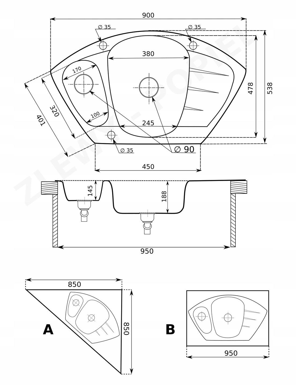 Zlewozmywak granitowy narożny Compa rysunek technicznyct