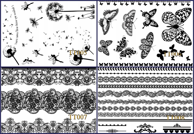 Tatuaż Wodny Kolorowy Uv Czarna Henna Nowe Wzory 6872603703