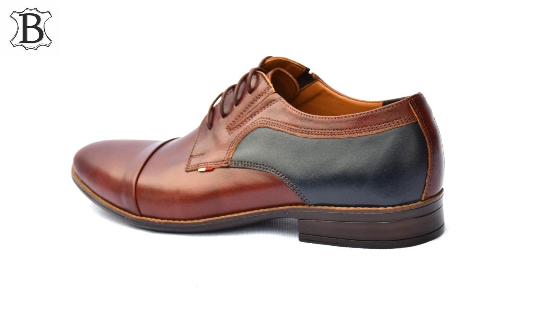 Buty skórzane wizytowe męskie casual polskie 346B