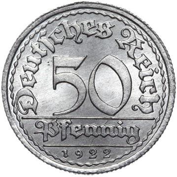Германия - 50 Pfennig 1922 E - MENNICZA ИЗ РУЛОНА доставка товаров из Польши и Allegro на русском