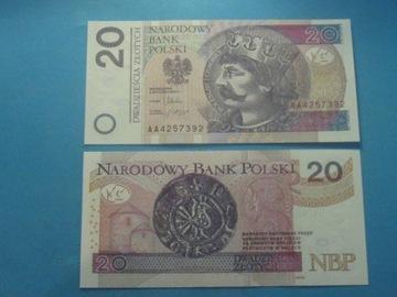 Польша Банкнота 20 злотых, серия АА !! P-174 UNC 2012 доставка товаров из Польши и Allegro на русском
