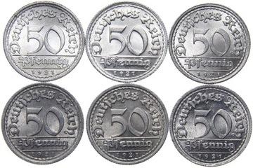 Германия - 50 Pfennig 1921 - КОМПЛЕКТ MENNIC - ADEFGJ доставка товаров из Польши и Allegro на русском