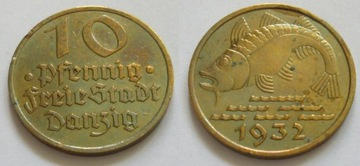 10 pfennig 1932 okołomennicza вольный Город Данциг доставка товаров из Польши и Allegro на русском
