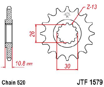 Zębatka przednia JT 15Z, 520 YAMAHA YZF-R1 1000