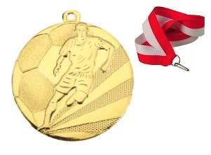 Zlatá medaila Futbal 50mm + Ribbon Bronze Silver