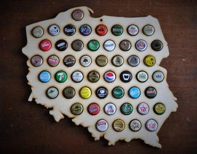 POLSKA mapa na kapsle beer cap map piwna mini