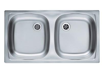 """oceľové Umývadlo 2-priestoru BASIC160 syphon 1,5"""""""