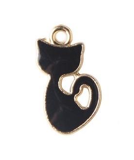 [70733] Кулон эмалированная котенок Цвет Черный