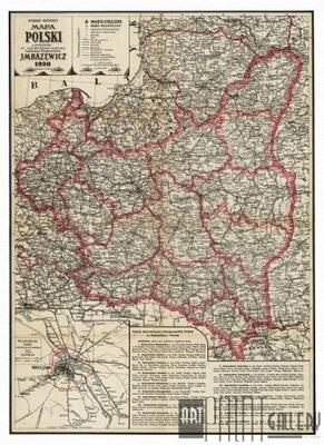польский  административная карта BAZEWICZ 1930 года.