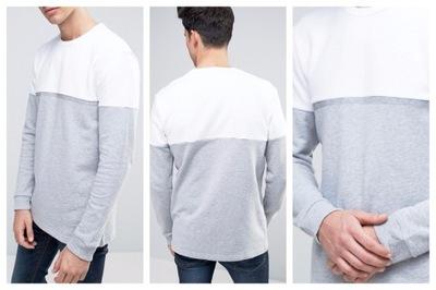 $ml83 bluza męska szara biała prosta przez głowę S