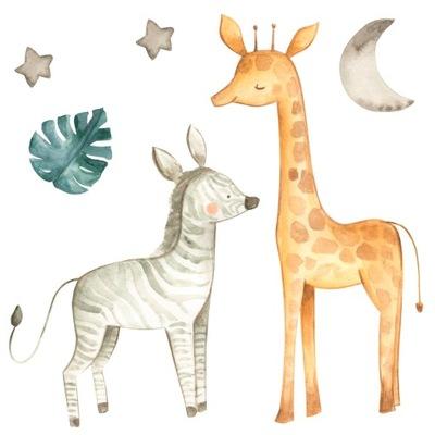 Samolepka na stenu zo žirafy v pastelových farbách