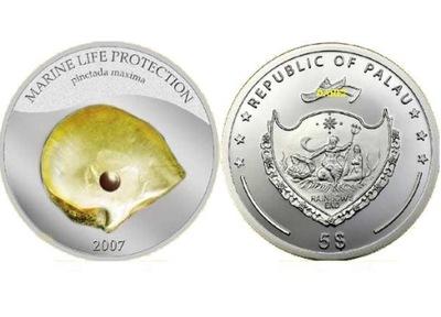 2007 ПАЛАУ 5 $ серебро ЖЕЛТЫЙ Жемчужина массой