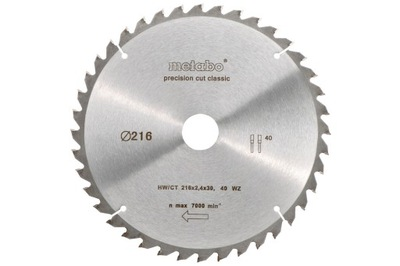 Rezací kotúč - Okružná píla Metabo HW / CT 216x30mm štít 40WZ