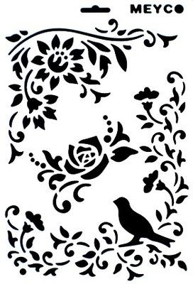 шаблон A4 декупаж шаблоны цветы листья птица