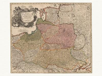 польский  WLK. КНЯЖЕСТВО ЛИТОВСКОЕ карта 1716 года. холст
