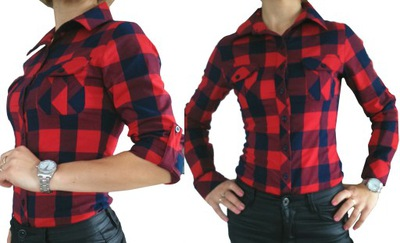 Koszula w dużą kratę czerwono-granatowa HIT!!!