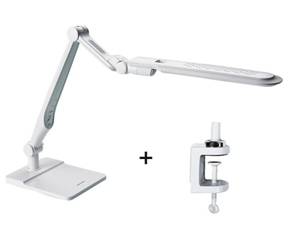 Stolná lampa led 10W ploche s klip biela