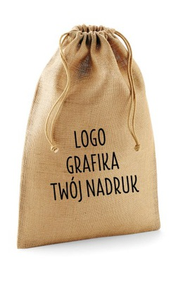 мешок из джута декоративный рисунком логотип 10х15 см
