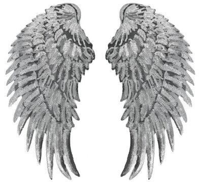 СТРАЗЫ серебро Крылья полоса термо ВЫСОКАЯ 34cm