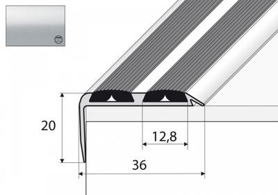 Планка лестница A37N уголка 120см серебро