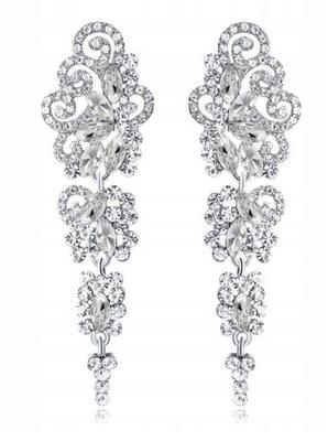 серьги длинные серебро стразы кристаллики свадьба