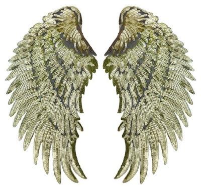 СТРАЗЫ Золотые Крылья полоса термо ВЫСОКАЯ 34cm