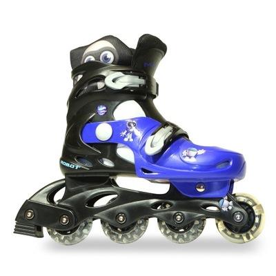 Valčeky kolieskové korčule Robot deti nastaviteľné 34-37 LED