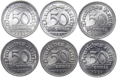 Германия - 50 Pfennig 1921 - комплект MENNIC - ADEFGJ