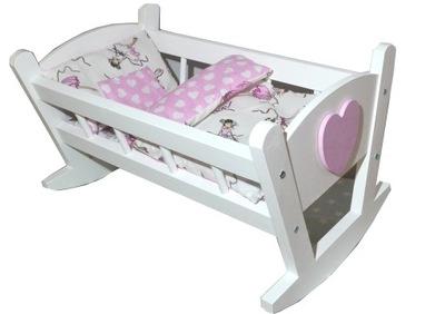 Kołyska drewniana łóżeczko dla lalek +POŚCIEL 4 el