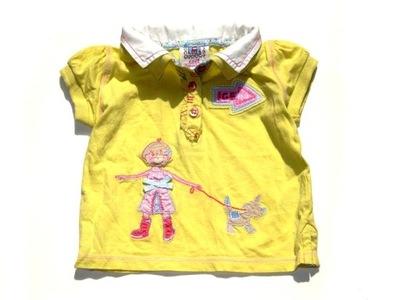 NEXT słoneczna bluzka koszulka polo lala piesek 68