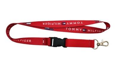 Smycz TOMMY HILFIGER czerwona szer. 20mm dł. 52cm