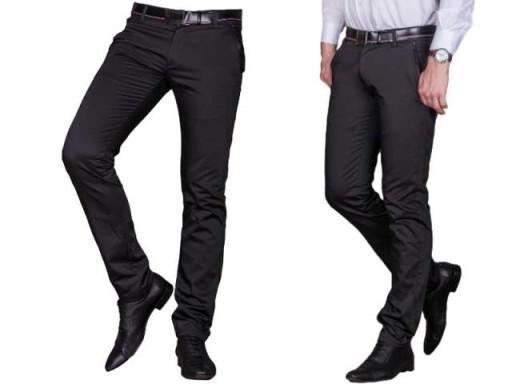 Spodnie męskie wizytowe czarne 1710, ROZM 38