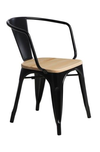 Krzesło loft Paris Arms Wood czarny sosna natura