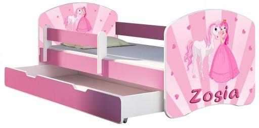 Łóżko dziecięce 140x70 szuflada materac RÓŻ ACMA