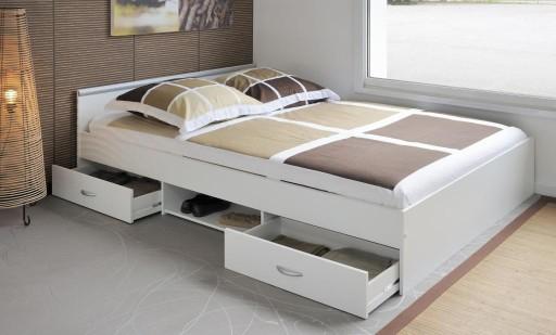 łóżko Z Szufladami 140x200 Alpha Biały Promocja Vm