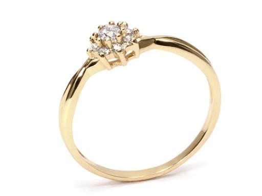 Złoty 585 Pierścionek Zaręczynowy Z Brylant023ct 6386831244