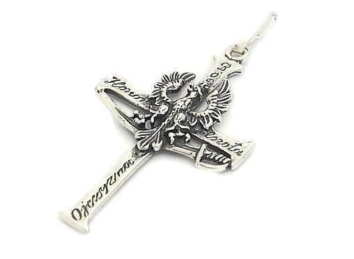 Krzyzyk Srebrny Z Orlem Bog Honor Cnota Ojczyzna 5050292514 Allegro Pl