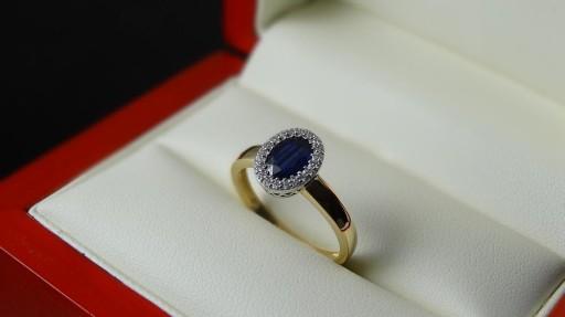 Pierścionek Zaręczynowy Z Szafirem I Brylantami 6212377493