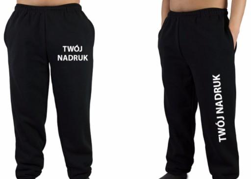 Spodnie dresowe Męskie Czarne Szare z nadrukiem M 9617480313 Odzież Męska Spodnie ZZ DKCJZZ-3