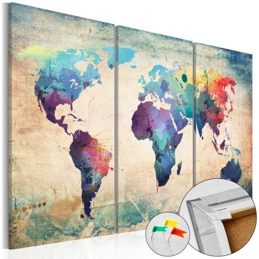 Obraz na korku 120x80 mapa świata korkowa