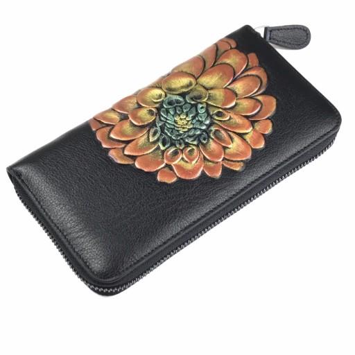 ae909a9ee6517 NOWOCZESNY damski portfel z motywem kwiatka skóra 7681848193 - Allegro.pl