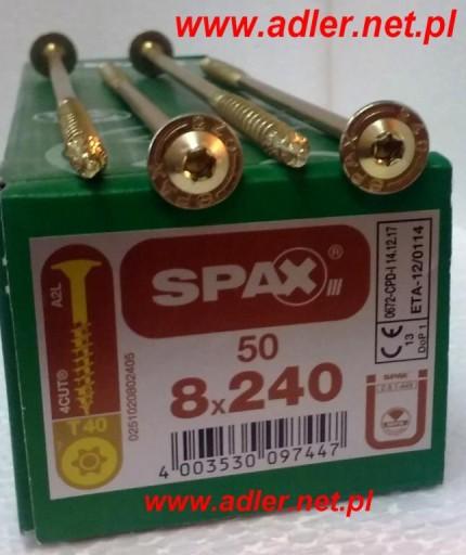 Wkręty konstrukcyjne SPAX 8x240z łbem talerzykowym