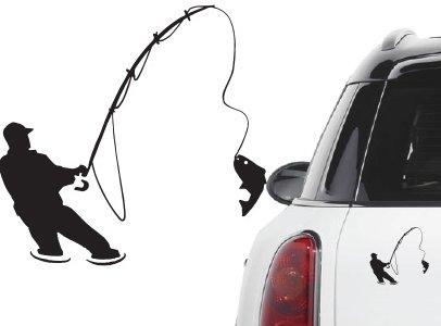 Naklejka winyl. na samochód/samochodowa - wędkarz