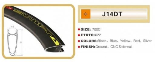 Obręcz 700c-14 stożek 50mm 36 czarny 920g