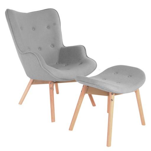 Fotel Krzesło Uszak Leo Grey Szary Podnóżkiem
